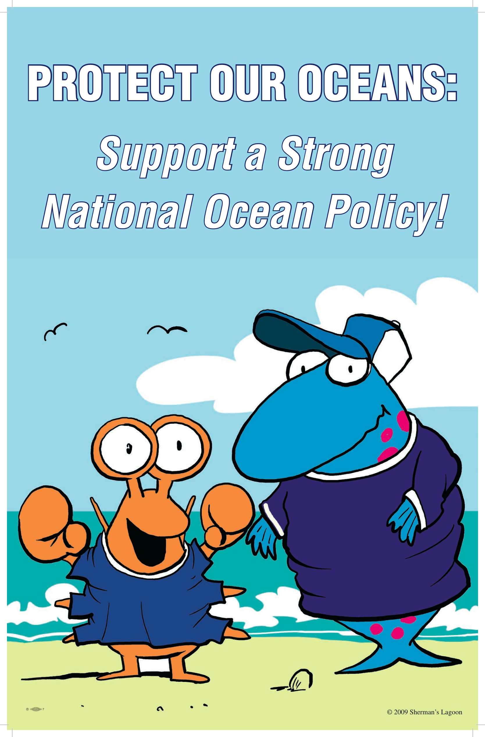 Protect Our Oceans Rally - Wear Blue sign