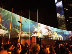Racing-Extinction-Film-Projection-on-UN-Headquarters-September-2014