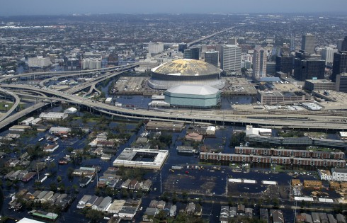 Superdome in New Orleans after Hurricane Katrina