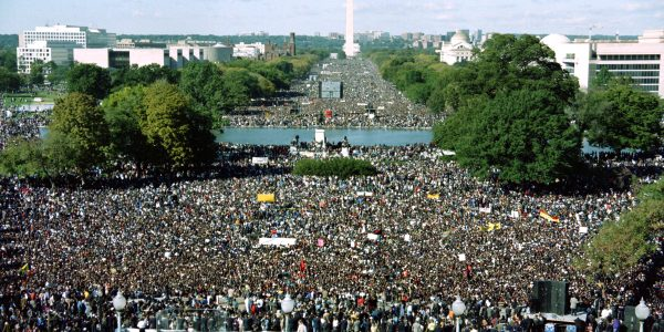"This photograph taken from the US Capitol Building shows thousands of people gathered on the Mall during the ""Million Man March"" in Washington D.C., on October 16, 1995. The march, called by Nation of Islam leader Louis Farrakhan, is intended as a day for black men to unite and pledge self-reliance and commitment to their families and communities. (Photo credit should read RICHARD ELLIS/AFP/Getty Images)"